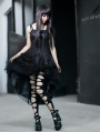 Black Spaghetti Strap Gothic Layers High-Low Dress