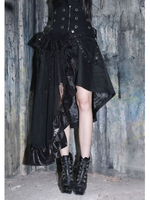 Black Asymmetrical High Waist Gothic Skirt