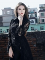 Black Lace Gothic Trench Coat for Women