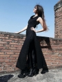 Black Sleeveless Hooded Gothic Trench Coat for Women