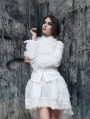 White Long Sleeves Vintage Gothic Blouse for Women