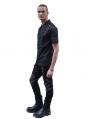 Black Buckle Gothic Short Sleeves Blouse for Men