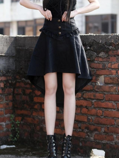 Black High Waist High-Low Gothic Skirt