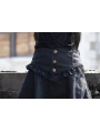 Black High Waist High-Low Gothic Skirt