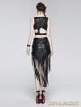 Black Gothic High-Low Tassels Short Skirt Pants
