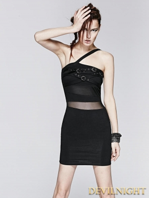 Black Sexy Gothic Punk Belt Dress