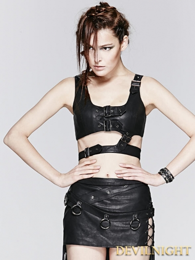 Black Gothic Punk Detachable Short PU Vest