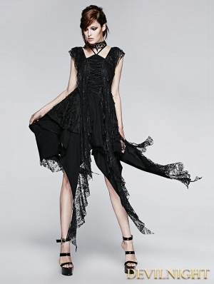 Black Gothic Irregular Decadent Dress
