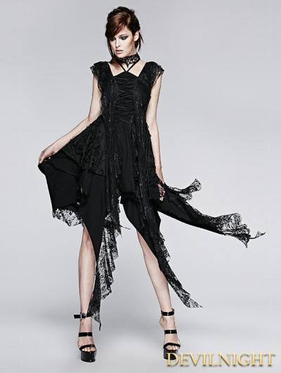 Black Gothic Irregular Decadent Dress
