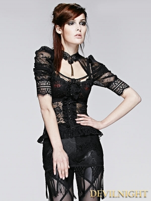 Black Gothic Sexy Lace Short T-Shirt