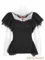 Black Gothic Butterfly Short Sleeve T-Shirt