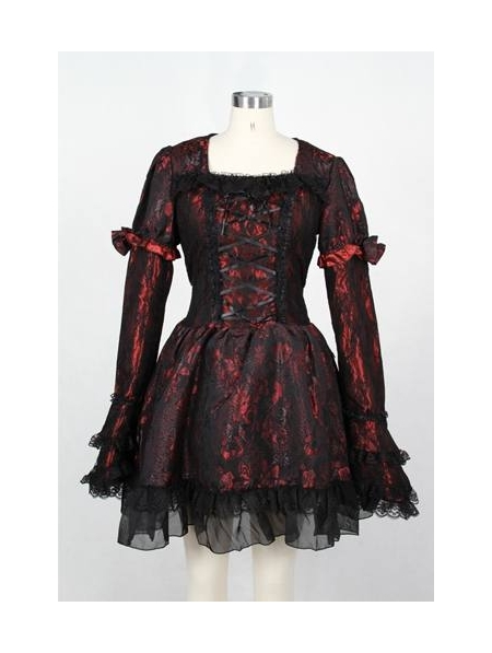 Black Red Printed Gothic Lolita Dress Devilnight Co Uk