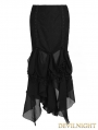 Black Gothic Chiffon Rose Skirt with Leaf Lace Trimmings