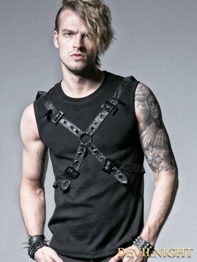 Black Gothic Rib Shirt with Ether Belt