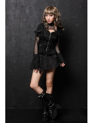 Black Long Sleeve Gothic Punk Dress