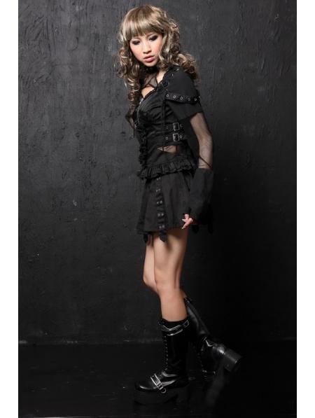 Black Long Sleeve Gothic Punk Dress Devilnight