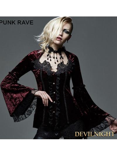 Wine Red Velvet Lace Gothic Blouse for Women
