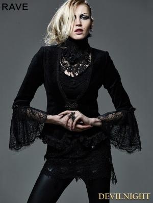Dark Black Gothic Short Top for Women