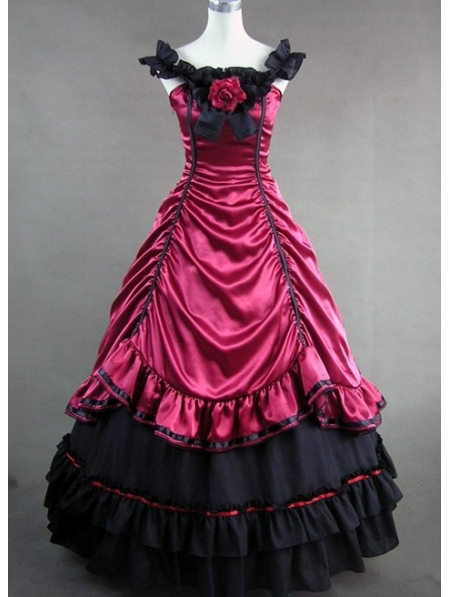 Red and Black Masquerade Gothic Ball Gowns