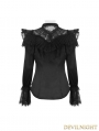 Dark Black Gothic Elegant Blouse for Women