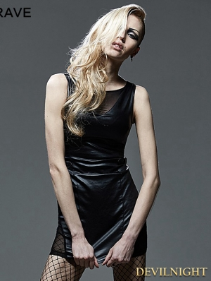 Black Sexy Sleeveless Gothic Mesh Spliced Dress