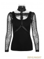 Black Gothic Punk Two-Piece Waistcoat T-Shirt for Women