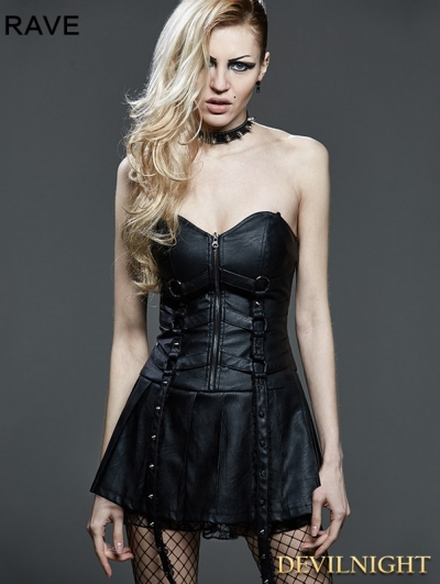 Black Gothic Punk Corset Pleated Leather Dress
