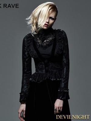 Black Floral Pattern Short Gothic Jacket for Women