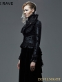 Black Floral Pattern Short Gothic Jacket for Women