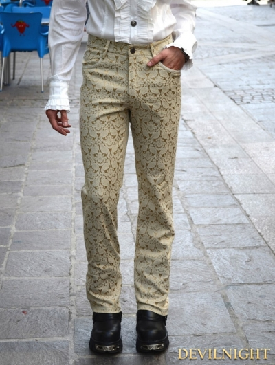 Yellow Alternative Pattern Gothic Pants for Men
