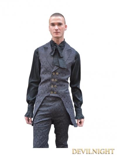 Black Alternative Pattern Gothic Vest for Men