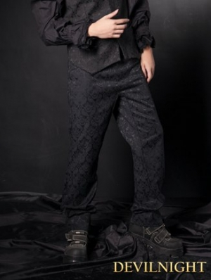 Simple Black Gothic Pants for Men