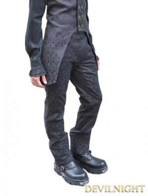Black Alternative Pattern Gothic Pants for Men