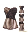 Brown Stripe Overbust Steampunk Corset