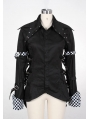 Black/White Tuxedo Style Punk Blouse for Women