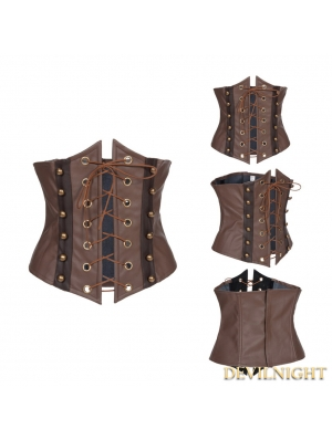 Brown Lace-up Steampunk Waistband
