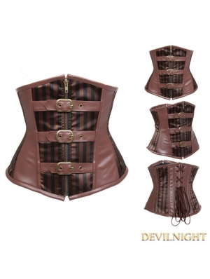 Brown Striped Underbust Steampunk Corset