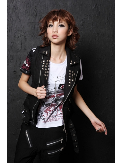 Black Rivet Punk Vest for Women - Devilnight.co.uk