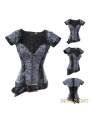 Black Brocade Overbust Steampunk Corset with Jacket
