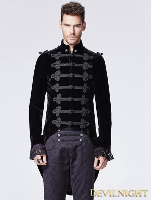 Black Gothic Victorian Swallow Tail Jacket for Men