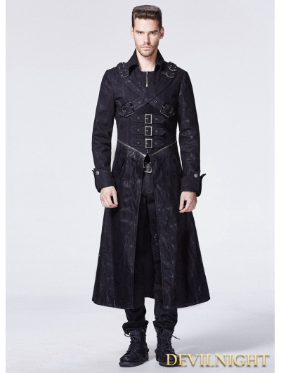 Black Gothic Punk Cross Long Trench Coat for Men