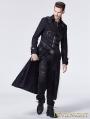 Black Gothic Punk Cross Long Trench Coat for Men
