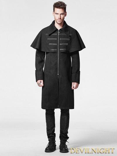 Black Woolen Gothic Cloak Coat for Men