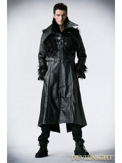 Black Leather Gothic Punk Long Jacket with Curl for Men