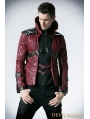 Black and Red Leather Vampire Style Gothic Jacket for Men