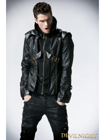 Black Leather Vampire Style Gothic Jacket for Men
