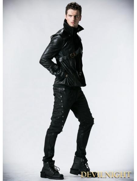 Black Leather Vampire Style Gothic Jacket For Men