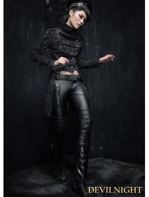 Black Gothic Punk Military Style Jacket for Women