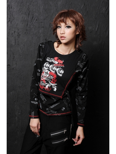 Black Crossbones Pattern Punk T-Shirt for Women