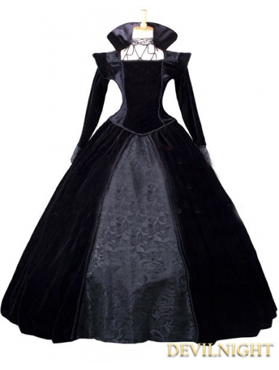 black velvet and satin victorian queen costume